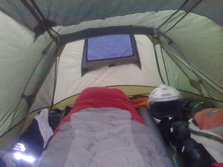 Inside looking from the door end to the lower foot end. All my gear is inside except the now empty panniers. & OZtrail / Outer Limits - Apollo 2 Tent review by TransalperNZ